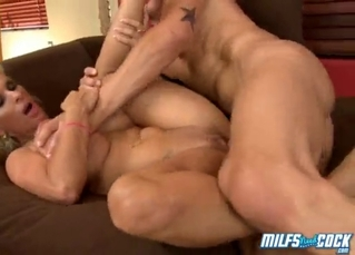 Big-boobed blonde nailed by a long dick