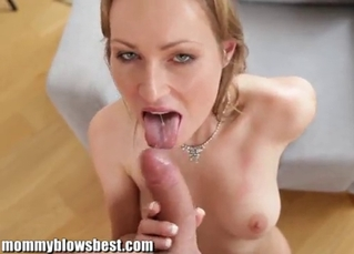 Excited mommy is sucking with pleasure