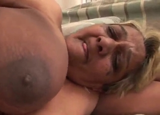 Excited busty BBW and a young fucker