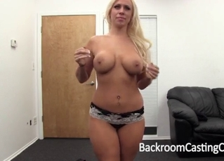 Excited blonde opens her little wet hole